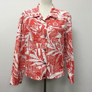 Chico's Size 2 Large 12 White Coral Floral